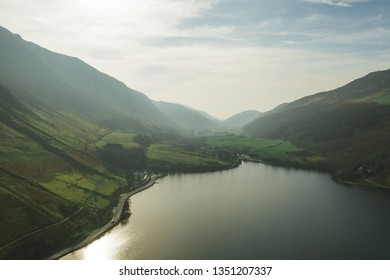 Wales Snowdonia Drone Views Beautiful Blue Lake and Mountains