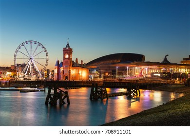 Wales, Uk, August 10, 2017. Ferris Wheel in Cardiff Bay at night, Cardiff