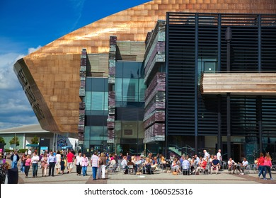 Wales, UK, August 26. 2012  The Millennium Centre with many Tourists in Cardiff Bay, Cardiff