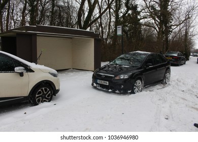 Wales, UK - March 02 2018: Cars abandoned in the snow, due to Storm Emma. Church Village near Pontypridd