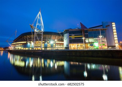 Wales, UK, November 15, 2011.Millennium Stadium at night, Cardiff