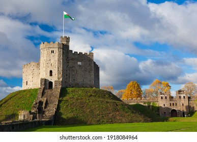 Wales, UK, November 19, 2013. The Norman Keep is a tourist attraction and is situated in the grounds of Cardiff Castle, Cardiff
