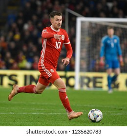 Wales v Denmark, Uefa Nations League, Cardiff City Stadium, 16/11/18: Aaron Ramsey of Wales tries to break up play