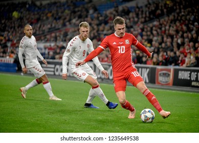 Wales v Denmark, Uefa Nations League, Cardiff City Stadium, 16/11/18: Wales' Aaron Ramsey attacking for Wales