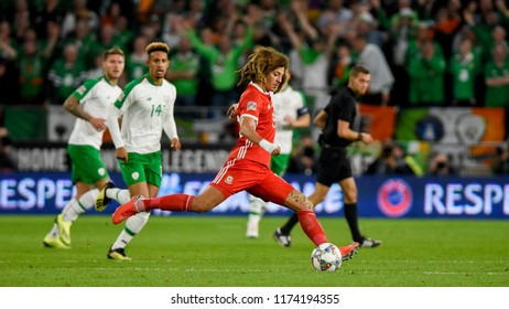Wales v Ireland, Cardiff City Stadium, 6/9/18: Wales' Ethan Ampadu sprays a sublime pass before Gareth Bale scores for Wales