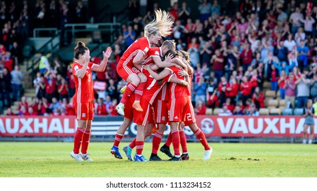 Wales v Russia, World Cup Qualifier 2019, Newport Stadium, Newport, Wales, 12/6/18: Wales celebrate their second goal of the game