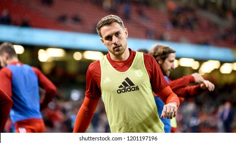 Wales v Spain, International Football Friendly, National Stadium of Wales, 11/10/18: Wales' Aaron Ramsey