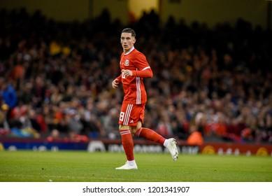 Wales v Spain, International Football Friendly, National Stadium of Wales, 11/10/18: Wales' Harry Wilson