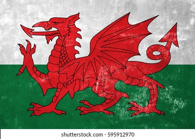 Wales - Welsh Flag on Old Grunge Texture Background