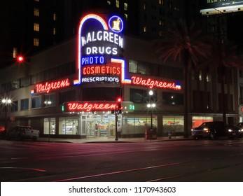 Walgreen Drug drugstore at 900 Canal Street at night, New Orleans, Louisiana, USA - April 11, 2018