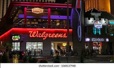 Walgreens, Denny's, White Castle businesses, vegas strip, Las Vegas, Nevada USA - September 30, 2017