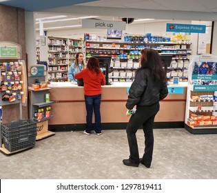 Walgreen's Pharmacy prescription medicine drug counter pickup, Saugus Massachusetts USA, January 25, 2019