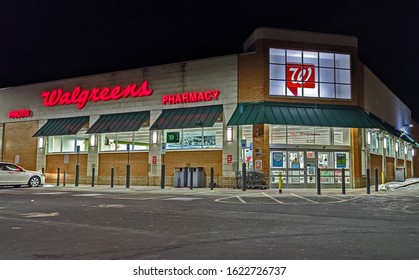 Walgreens pharmacy prescriptions photo store, late night hours, Revere Massachusetts USA, January 20, 2020