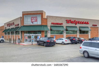 Walgreens Pharmacy retailer storefront parking lot view, Saugus Massachusetts USA, March 14, 2020