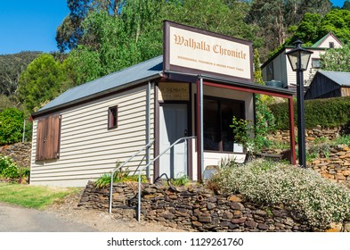 Walhalla, Australia - October 17, 2015: former office of the defunct Walhalla Chronicle newspaper in the small Gippsland mining and tourist town of Walhalla.