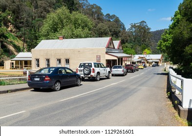 Walhalla, Australia - October 18, 2015: view along Main Road in the isolated former mining town of Walhalla in Gippsland, one of the smallest towns in Victoria.