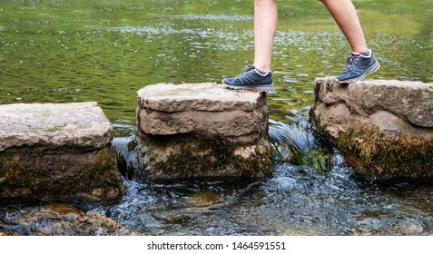Walk across stepping stones, concept for education, career, or training