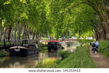 walk along the canal of midi in Toulouse, France