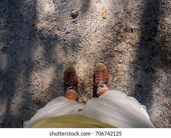 Walk along a mountainous dirt road