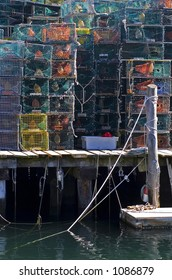 A walk along the oceanfront streets in Portland, Maine yields beautiful pictures of lobster traps, ropes, lobster boats, colorful bouys a breathtaking landscapes.