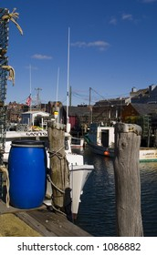 A walk along the oceanfront streets in Portland, Maine yields beautiful pictures of lobster traps, ropes, lobster boats, colorful buoys a breathtaking landscapes.