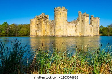 A walk around Bodiam castle in east Sussex on a a bright sunny day late April