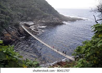Walk bridge across Storms River Mouth, Tsitsikamma National Park, South Africa