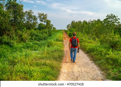 A walk in the countryside in a tropical country