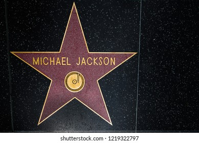 Walk of Fame, Hollywood Boulevard, Los Angeles, California, USA - May 31, 2018: Michael Jacksons music award golden red star on black tiled pavement - famous Hollywood Walk of Fame, in LA, CA, U.S.A.