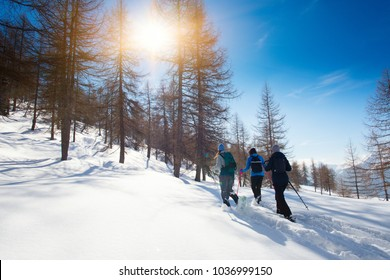Walk in the fresh snow with the snowshoes of three girl friends.