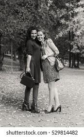 Walk girlfriends in autumn park