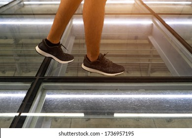 Walk on the glass floor with  clear glass to see through the electric wire,cable and pipe line are public utility on under ground.