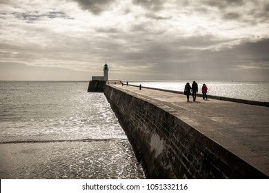 Walk on the little jetty of Les Sables d'Olonne in the French west coast