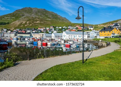 Walk pass in Honningsvag town harborside in Mageroya island.  Nordkapp Municipality in Finnmark county of Norway.