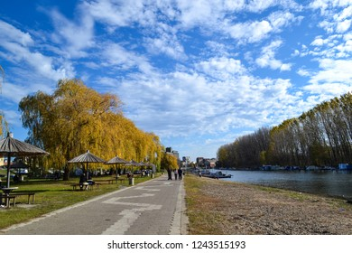 A walk path by the river in Pancevo near Belgrade, in Vojvodina, Serbia