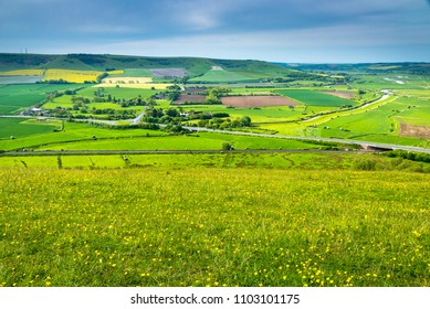 A walk up to the peak of Mount Caburn Lewes downs in east sussex with great views below of the valley and river ouse