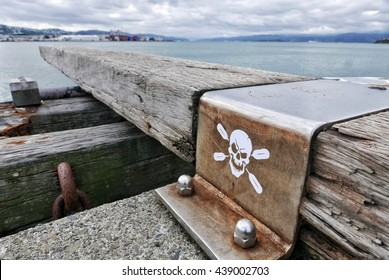 'Walk the plank' diving board with skull and crossbones, in Wellington, New Zealand