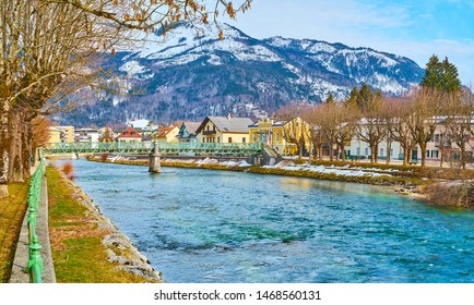 Walk in riverside Sissi Park, located in old town and neighboring with historical edifices of Bad Ischl, Austria