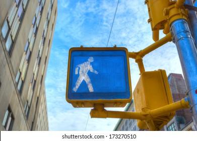 walk sign in New York