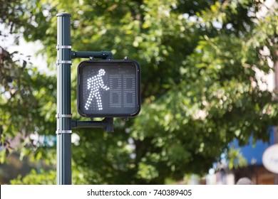 Walk sign on pole