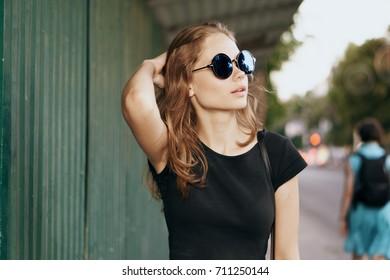 walk, sunglasses, city, young woman