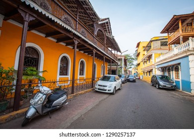 A walk through the Fontainhas or the old Latin Quarters in Panjim, Goa, India. Street and houses in the Fontainhas or the old Latin Quarters. Photographed on 16-Dec-2018