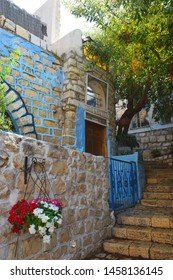 walk through the Old Town of Safed, center of Kabbalah and jewish mysticism in Upper Galilee, Israel