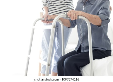 walk training , stroke patient use walker,  care giver