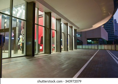 Walk way in front of the store night time