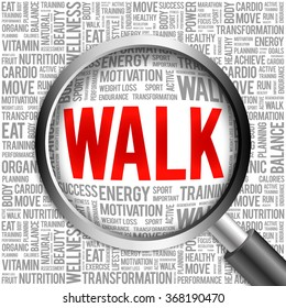 WALK word cloud with magnifying glass, health concept