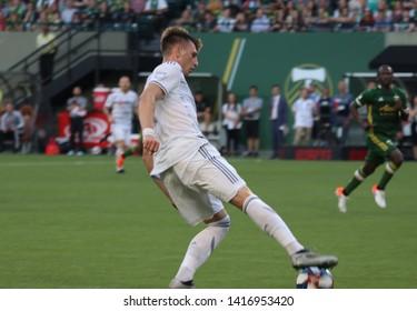Walker Zimmerman defender for LAFC at Providence Park in Portland, Oregon USA June 1st ,2019.