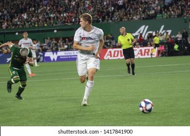 Walker Zimmerman  defender for the Los Angeles Football Club at Providence Park in Portland, Oregon USA June 1st ,2019.