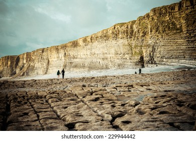 Walkers at Nash Point, a headland and beach in south Wales,is a popular location for walkers and bikers