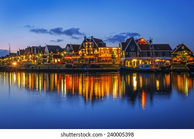 Walkfront of Volendam on Christmas night, The Netherlands